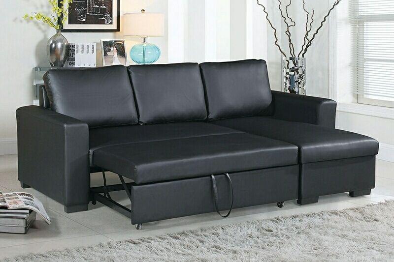 Poundex F6890 2 Pc Latitude Run Venters Black Faux Leather Sectional Sofa Set Pull Out Sleep Area Leather Sectional Sofas Sectional Sleeper Sofa Sectional Sofa