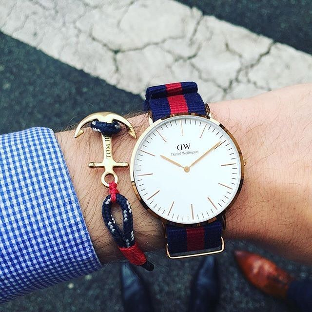 Populaire Tom Hope 24K One bracelet + Daniel Wellington Watch - silver mens  XL93