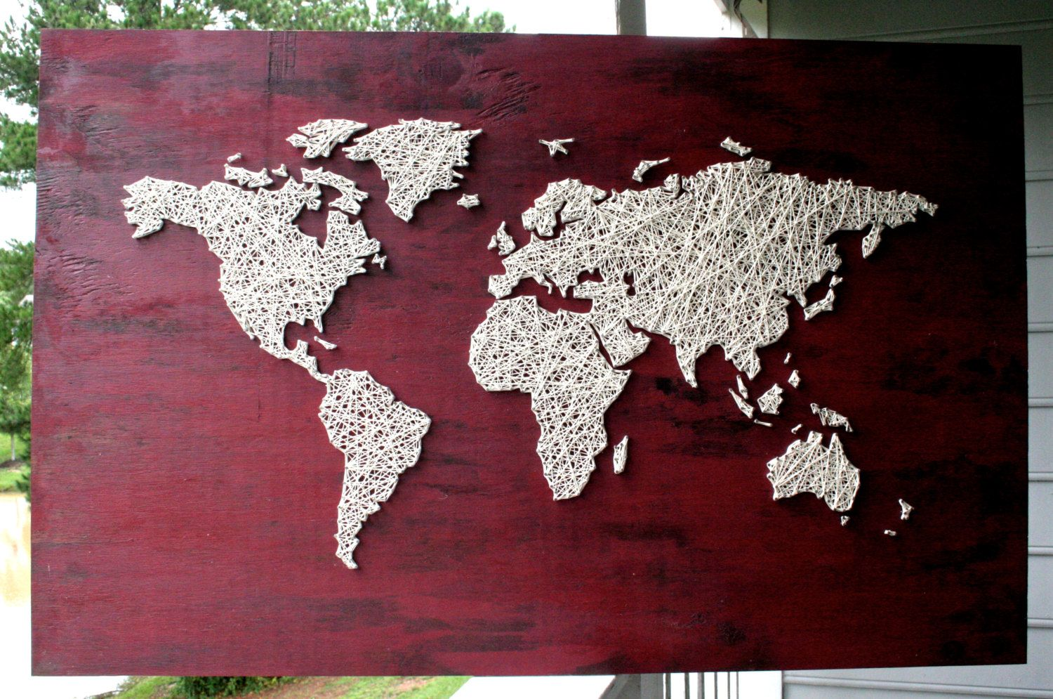 Large world map string art barn red world map travel map gumiabroncs Image collections