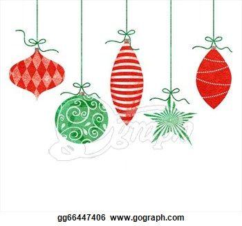 Stock Illustration Whimsical Hanging Christmas Ornaments Stock Art Illustrations Gg6644740 Christmas Hanging Decorations Whimsical Christmas Retro Christmas