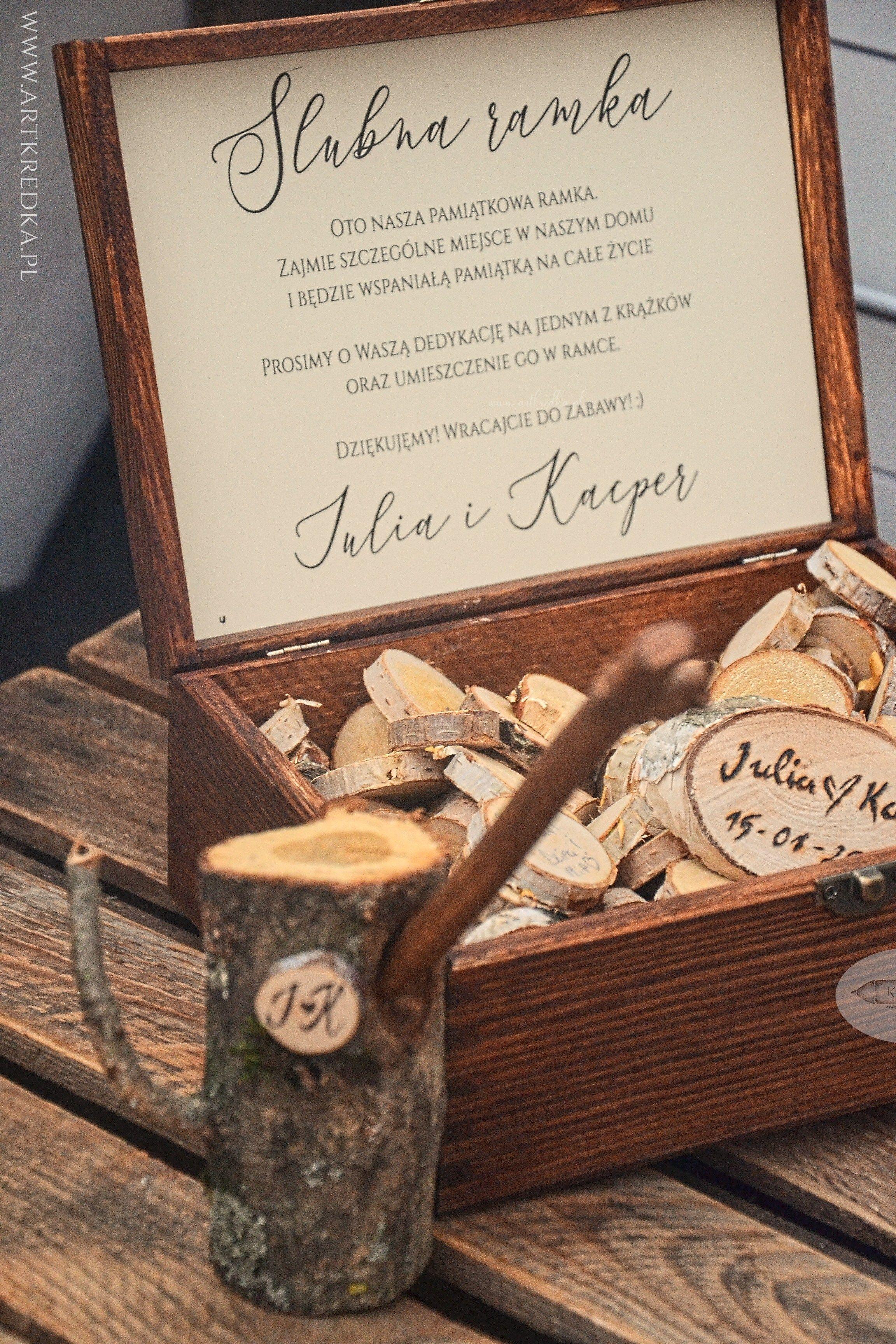 f108315b5578bd ślubna ramka na życzenia, drewniana księga gości, weselna księga gości  ramka w stylu rustykalnym