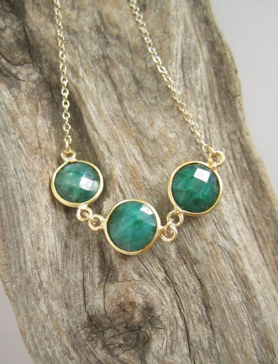 6f3f00d3b9a5e Raw Emerald Necklace Triple Gemstone Connector Necklace 14K Gold ...