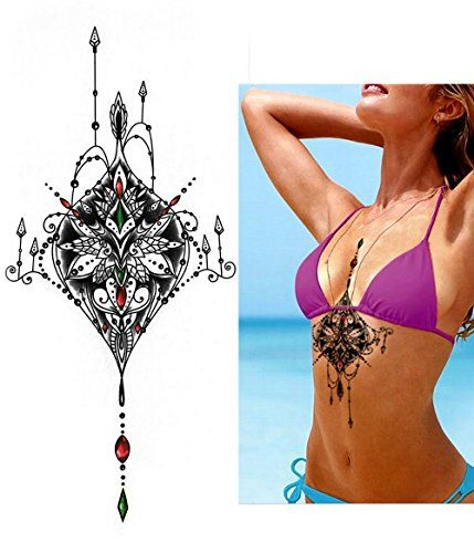 Temporary Amazing Tattoos Symbol Under Breast Chest Flower Red