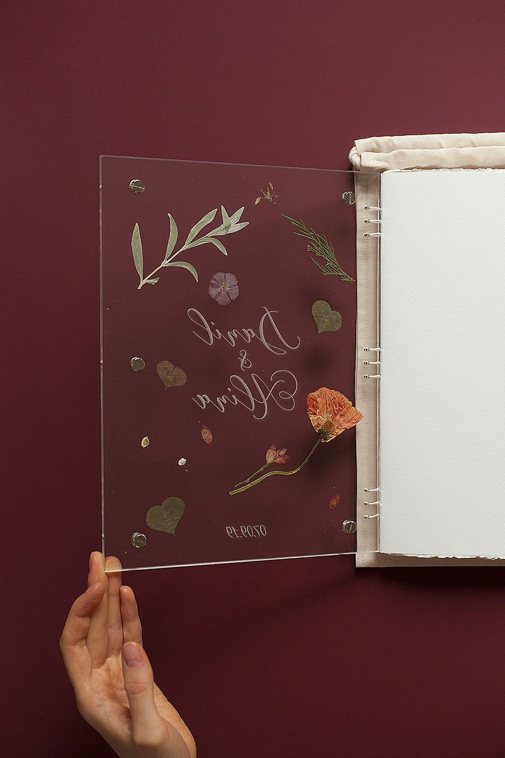 Acrylic book with herbarium with engraving wedding guest