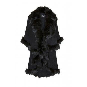Y-London Designer Fur Trimmed Cape