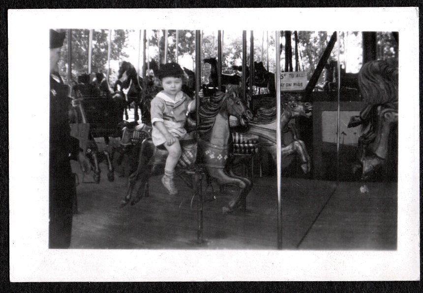 Vintage Photograph 1938 Carousel Horse Amusement Park Waterloo Iowa Old Photo Vintage Photographs Doggie Style Old Photos