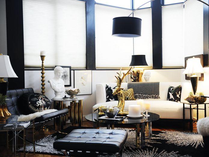 Glamorous Black White Gold Apartment Black And Gold Living