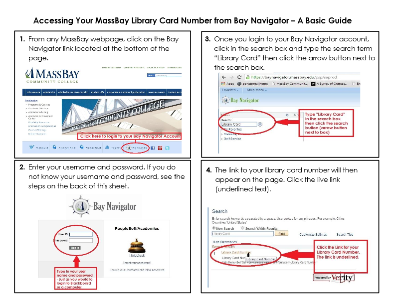 Accessing You Library Card Number On Bay Navigator For Massbay