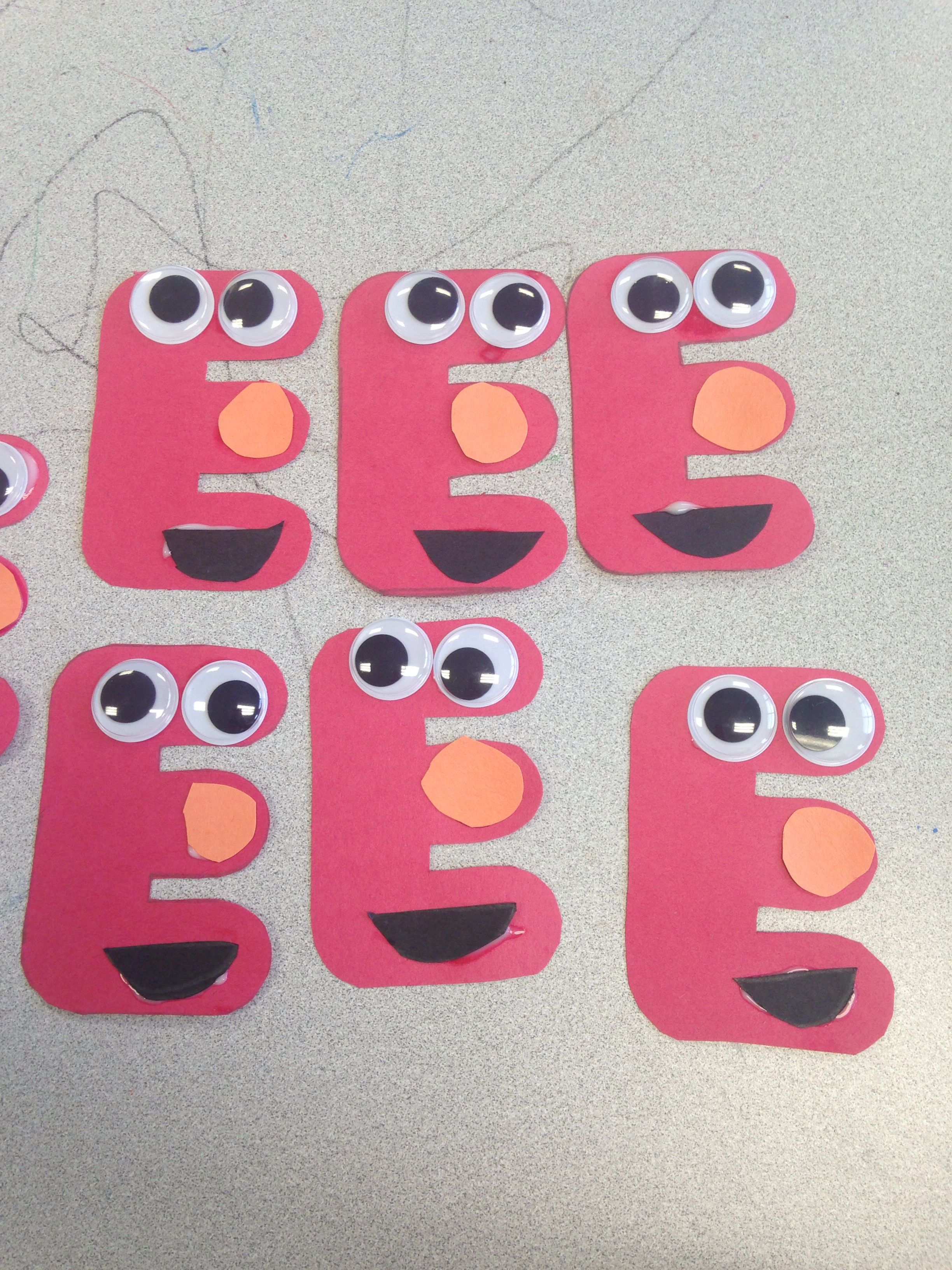 E Is For Elmo Easy Preschool Craft Activity Preschool Projects