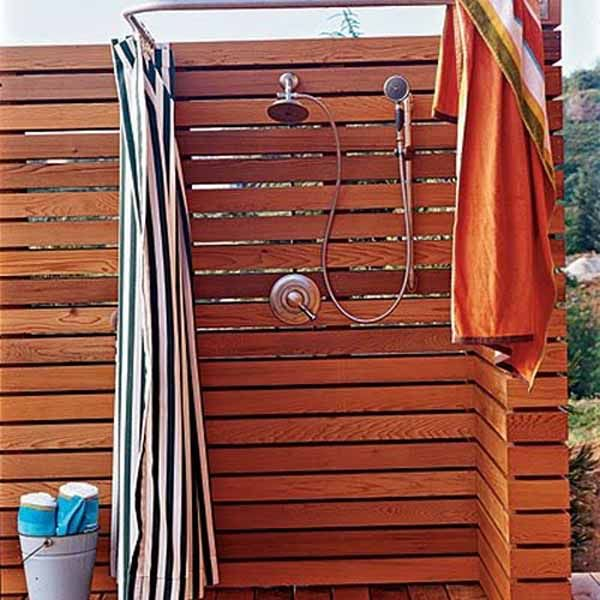 22 outdoor showers with curtains ideas