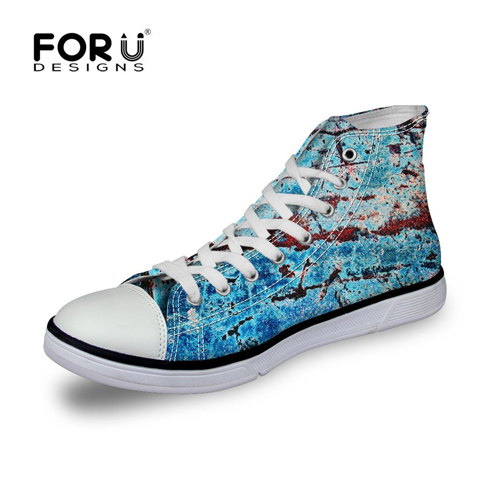 (Buy here: http://appdeal.ru/3ge ) new 2016 fashion casual print canvas men shoes high top breathable hip hop lace up flat mens chaussure unisex eur size 35-45 for just US $41.99