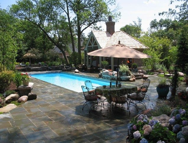 Rectangular fiberglass pool swimming pool ogs landscape for Swimming pool landscape design