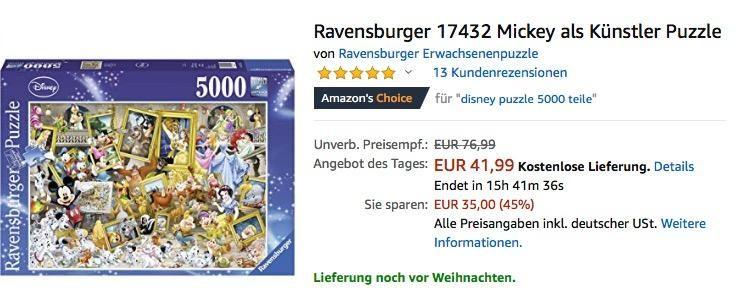 Ravensburger 17432 Mickey Als Kunstler Puzzle Puzzle 5000 Puzzle Mickey