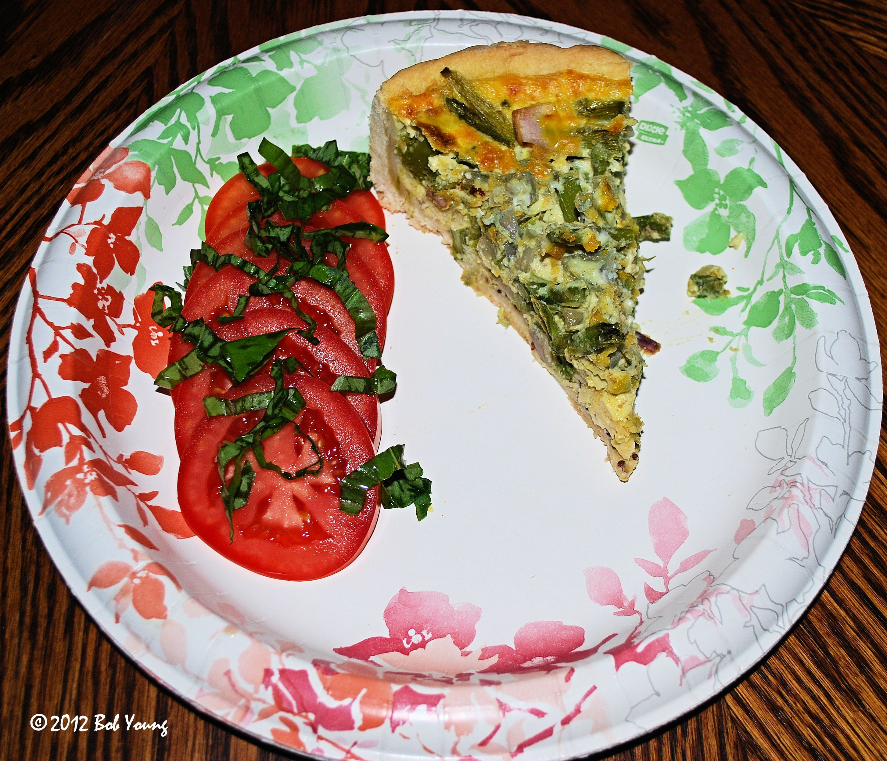 Robin's Asparagus Quiche with Sliced Fresh Tomatoes and Fresh Basil Threads. The Captain's Shack