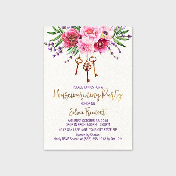 Floral Housewarming Party Invitation Printable X Floral Spray