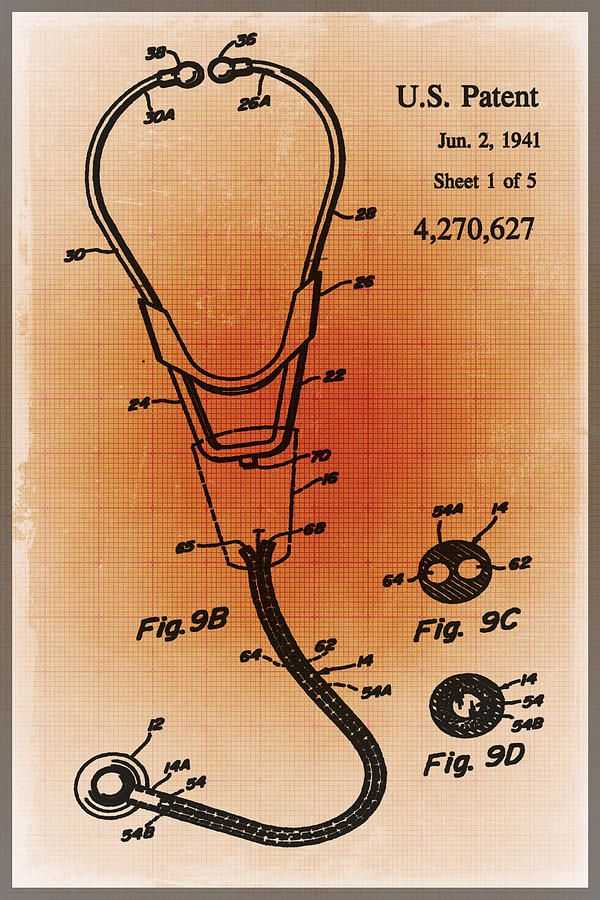 Doctor stethoscope 2 patent blueprint drawing sepia drawing doctor stethoscope 2 patent blueprint drawing sepia drawing malvernweather Images
