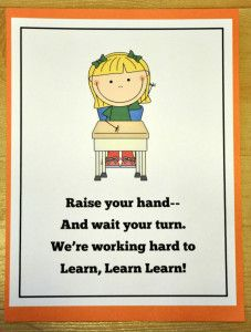 Raise Your Hand Poster: Brand new freebie!  Serves as a behavior reminder and visual cue.