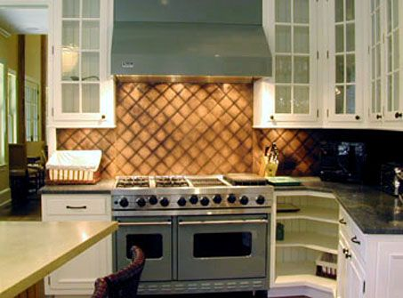 Quilted and Patinated Copper Backsplash