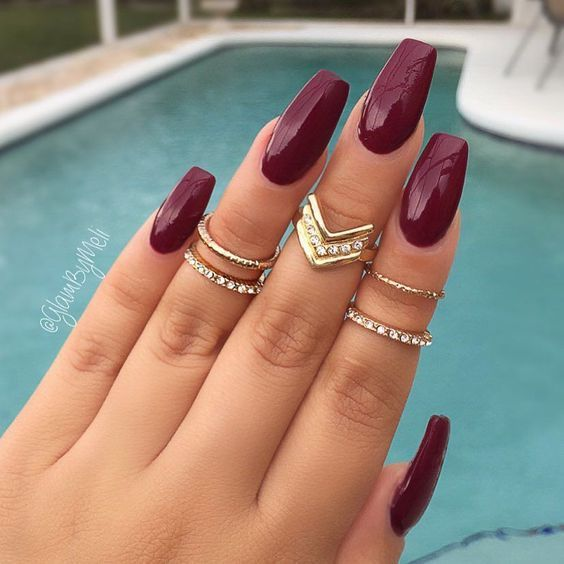 45 Simple And Charming Wine Red Nail Art Designs Fall Burgundy Nails Wine Red Stiletto Nails Burgundy Wine Nail Fall Acrylic Nails Dark Red Nails Maroon Nails