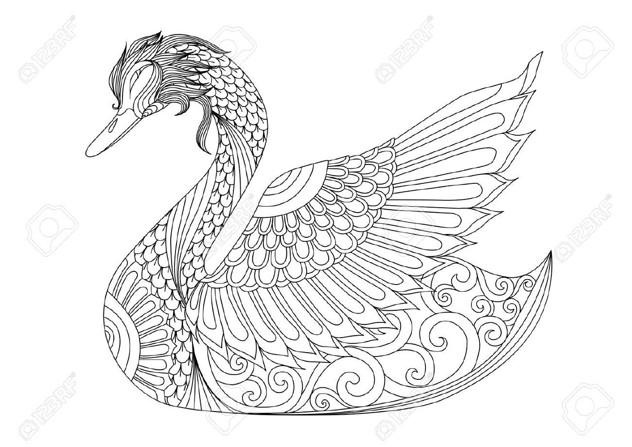 Drawing Swan For Coloring Page Shirt Design Effect Logo Tattoo Swan Drawing Coloring Pages Zentangle