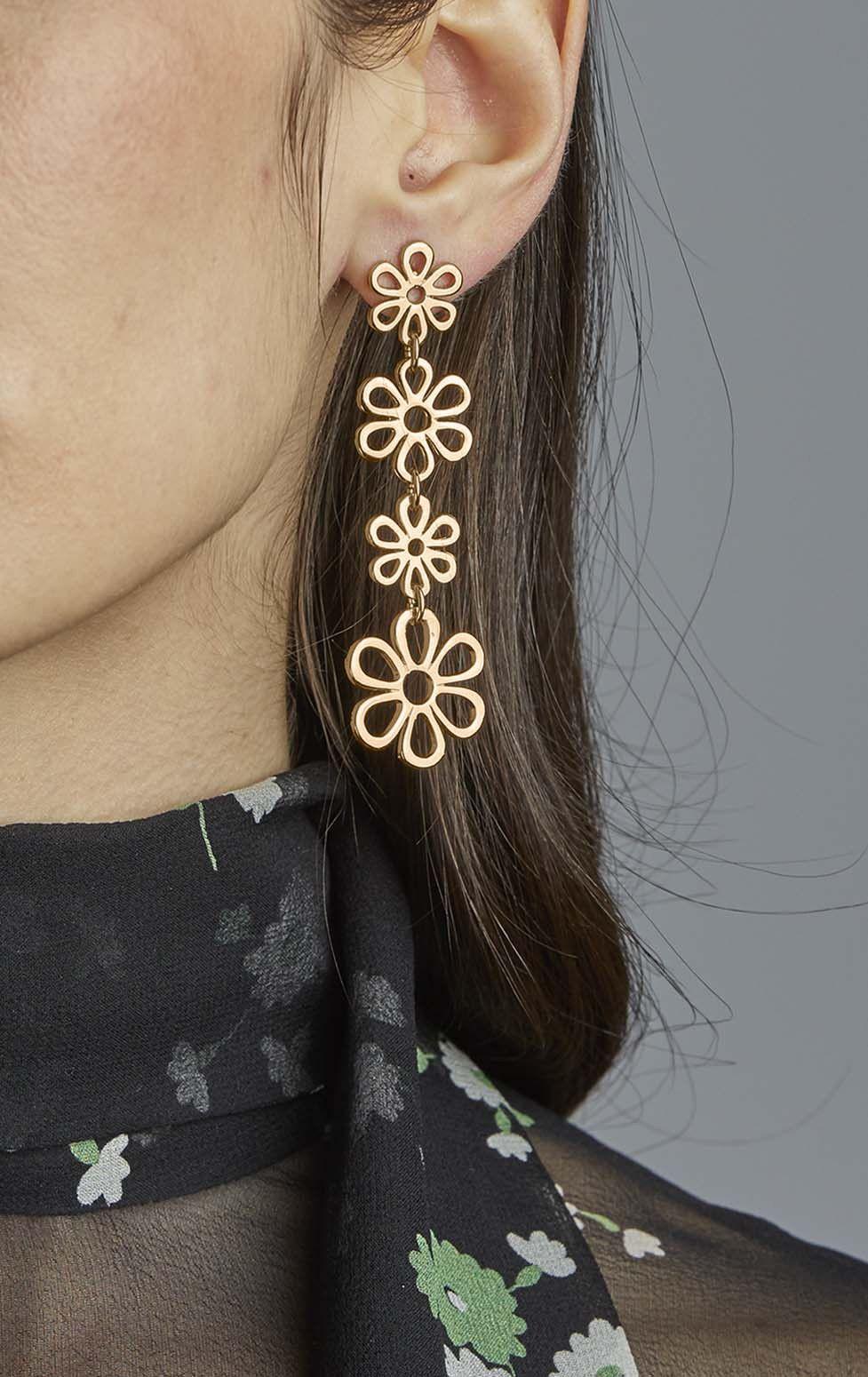 Four Tier Flower Earrings