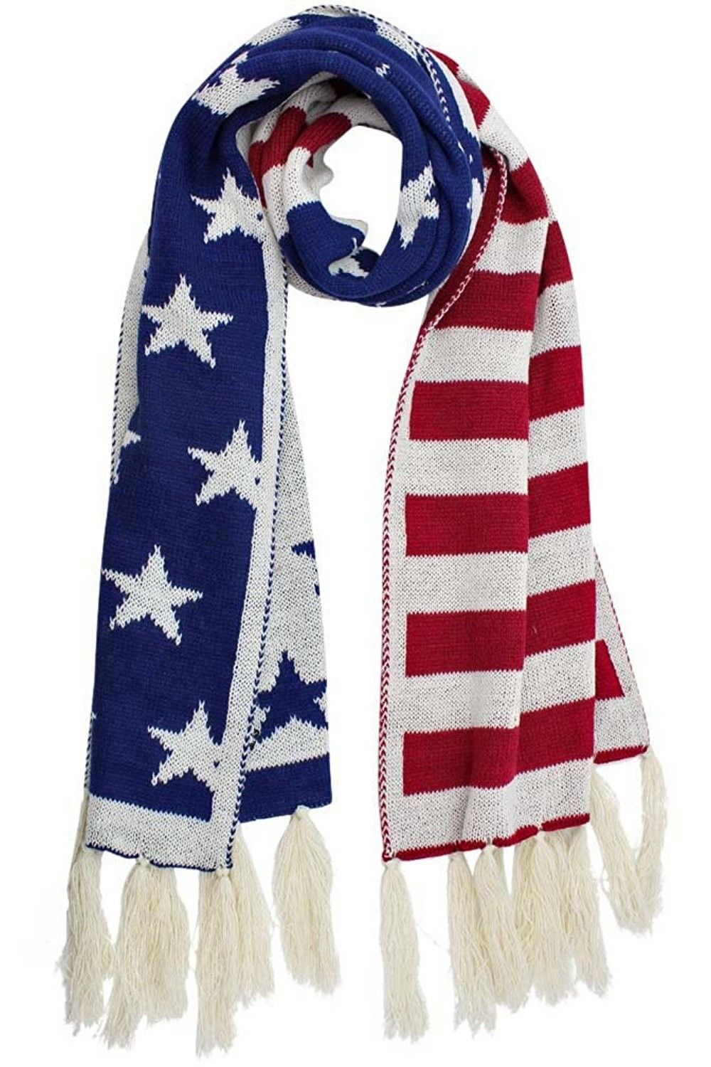 Patriotic American Stars Stripes Flag Long Winter Knit Scarf With Fringe Ck12ntp2xc8 Winter Knit Scarf Knit Scarf Winter Knits