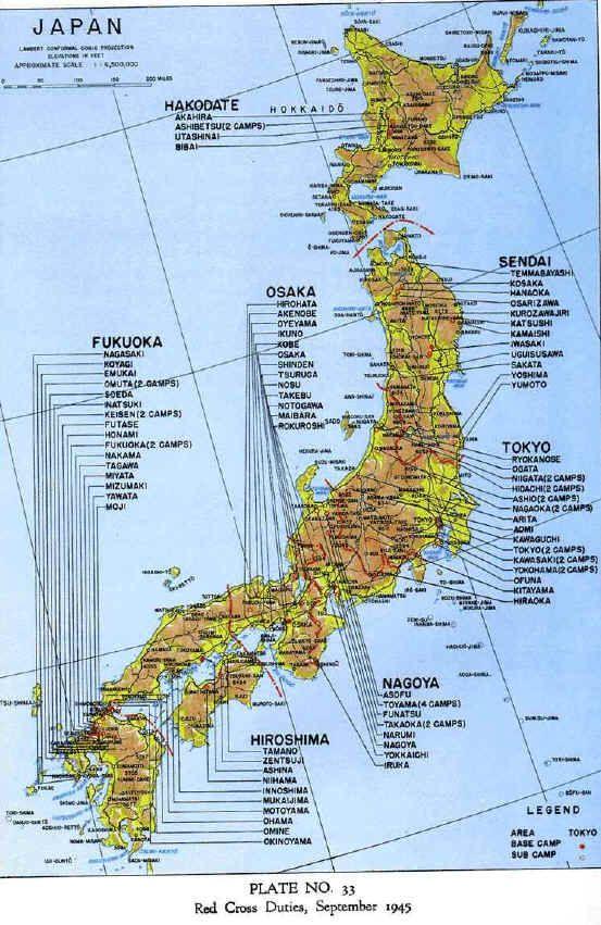 Map of locations of pow camps in japan genealogy maps map of locations of pow camps in japan prisoners of warworld war iibataan gumiabroncs Gallery