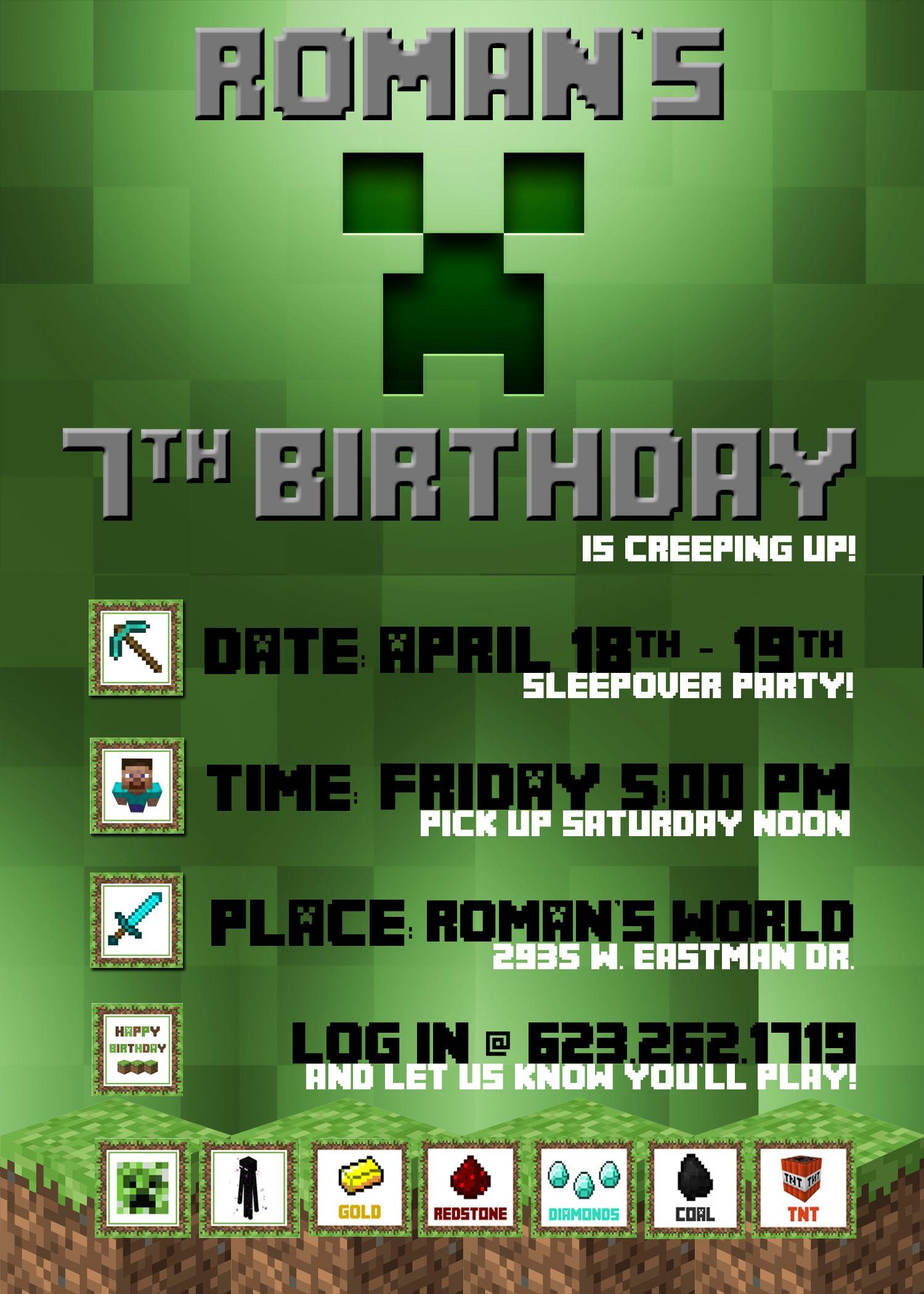 I designed my sons minecraft birthday invitation created in i designed my sons minecraft birthday invitation created in photoshop stopboris Gallery