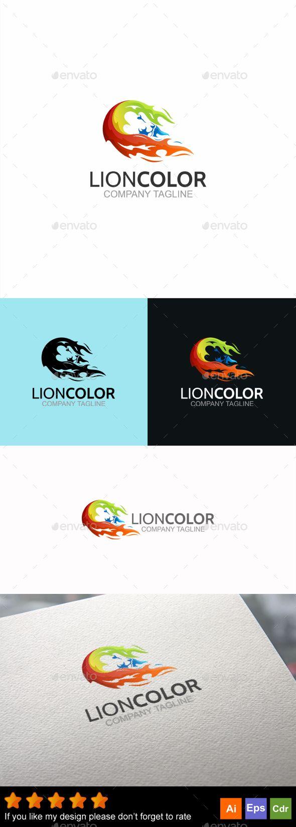 Lion Color Logo Design Template - Animals Logo Design Template ...