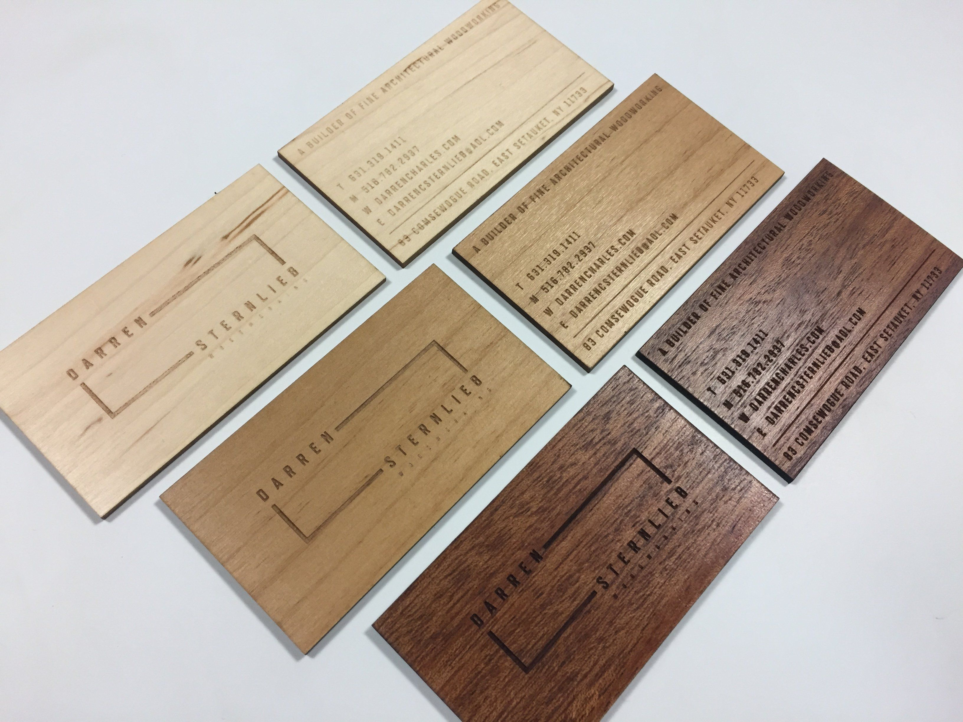 Laser Engraved Business Cards On Wood Metal And Plastic Carry A