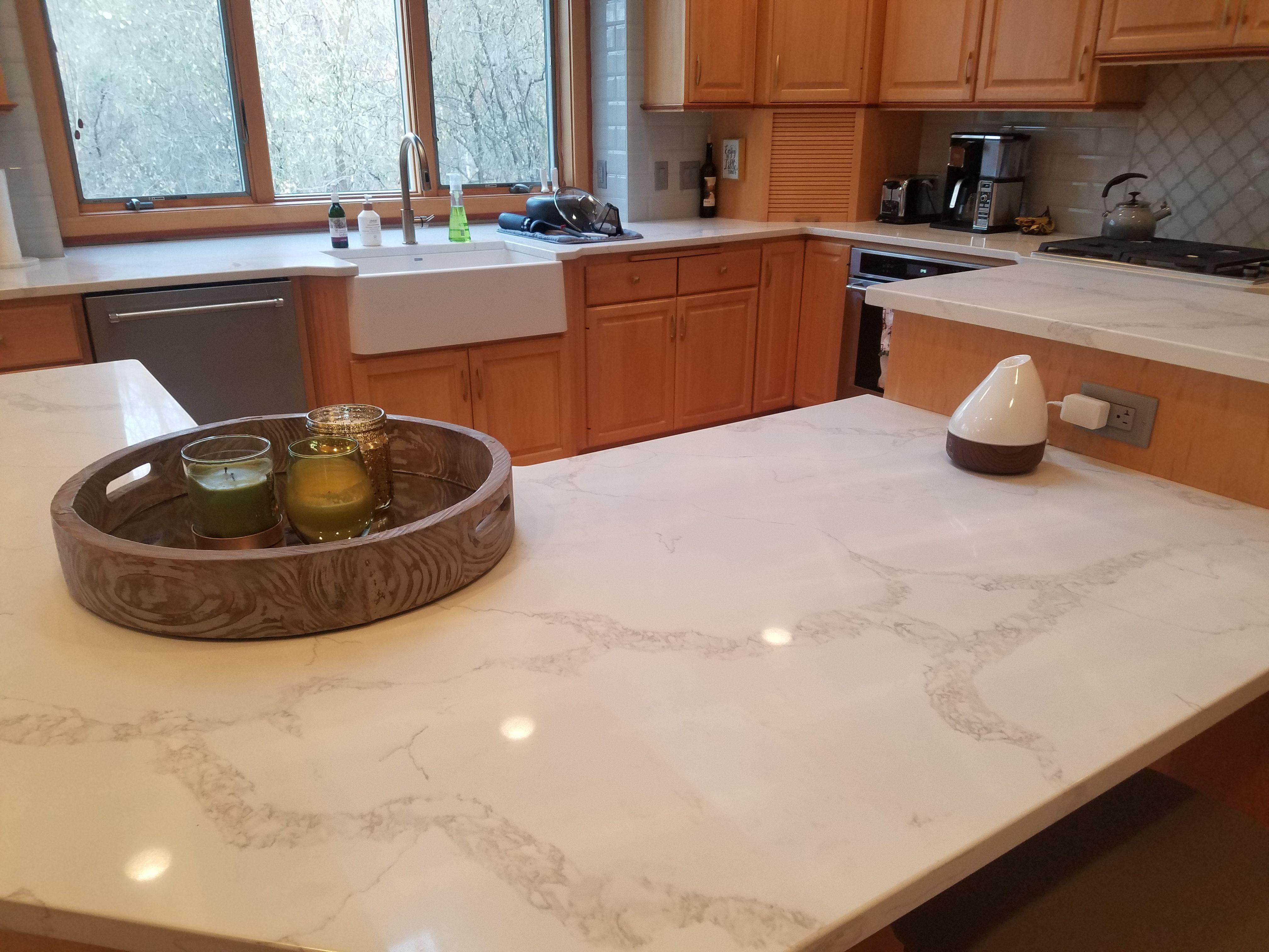 Large Kitchen Project Done In Calacatta Verona Quartz Custom