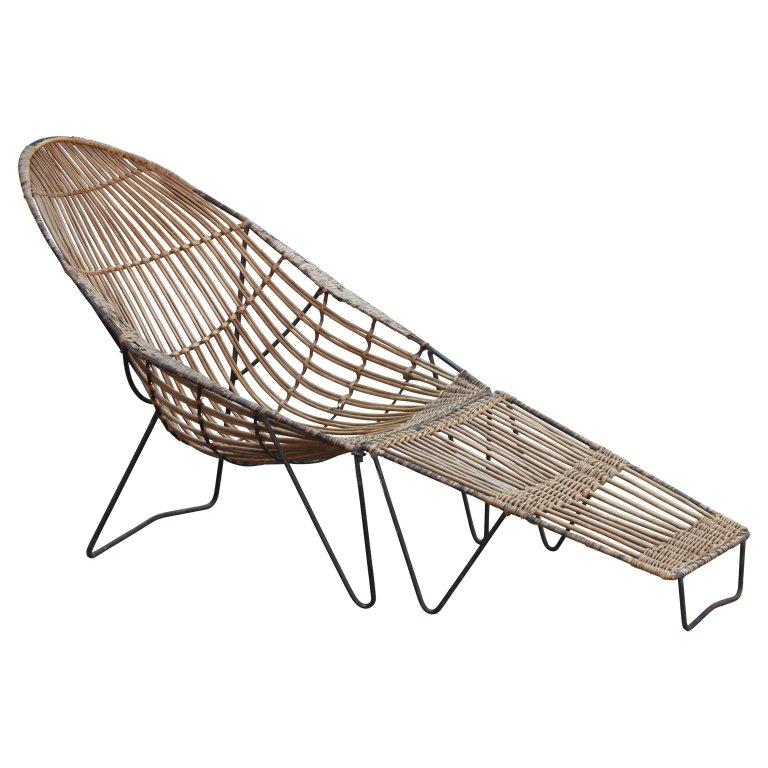 Modern Rattan Chaise Lounge Chair And Ottoman Van Keppel Green