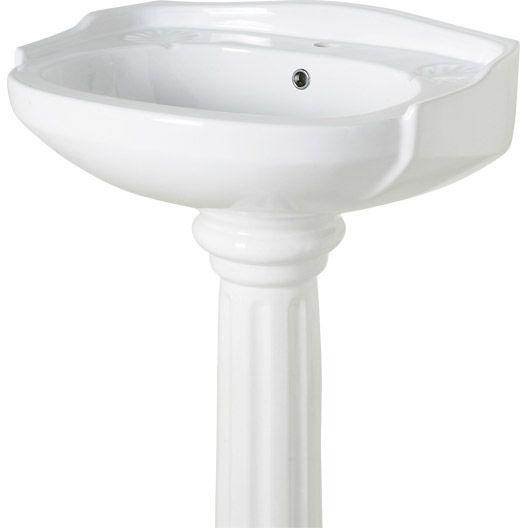 Lavabo Retro 50 Blanc En Ceramique L 65 X L 55 50 Cm Lavabo Retro Lavabo Colonne Lavabo