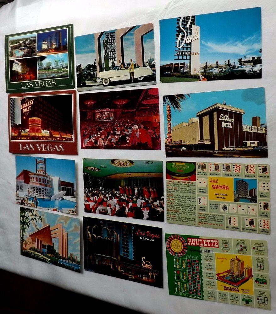 Las Vegas Sands Sal Sagev Sahara Showboat Barbary 12 Vintage Postcard Postcards