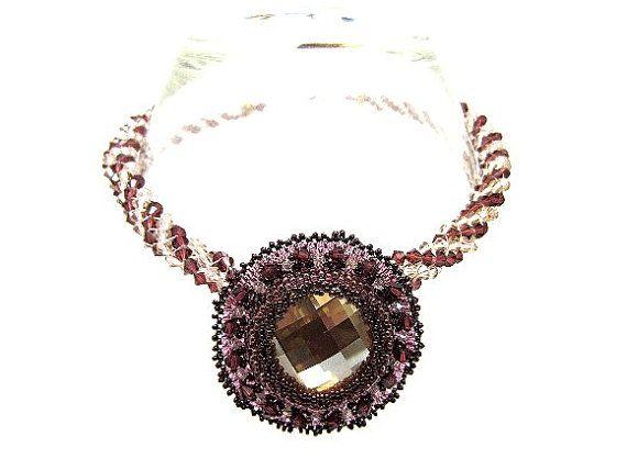Necklace Beadwork Pendant Crystal Burgundy by SparklePlentyToo