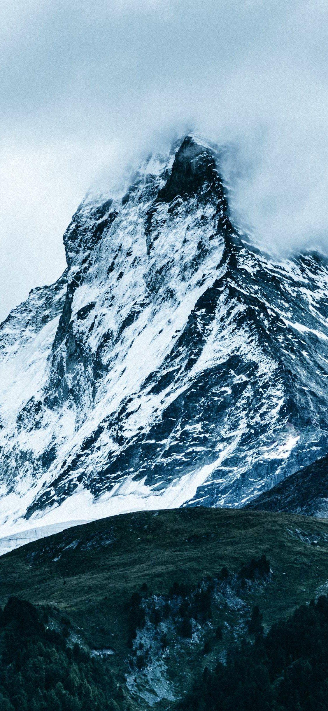 Mountains Fog Sky Matterhorn Wallpaper Iphone X Wallpaper Iphone Wallpaper Mountains Best Nature Wallpapers Iphone Wallpaper Wallpaper road trees snow marking snowy