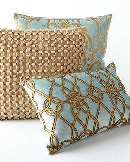 French Blue And Gold Throw Pillows Blue Gold Pillows Intricately