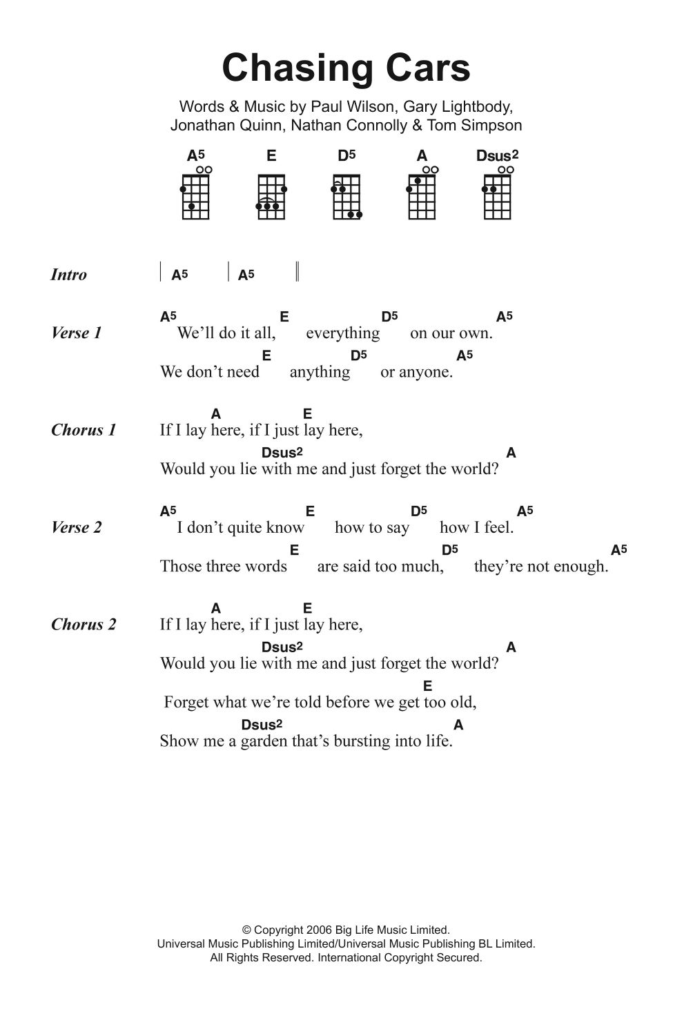 Chasing Cars Chords Ukulele Chords Songs Easy Ukulele Songs Ukulele Songs