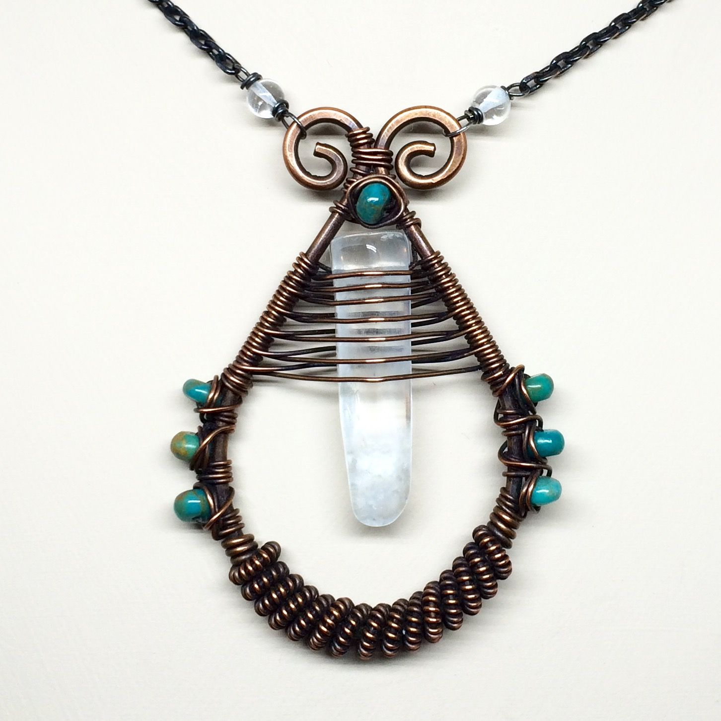 Quartz Crystal, turquoise and copper necklace - 30\