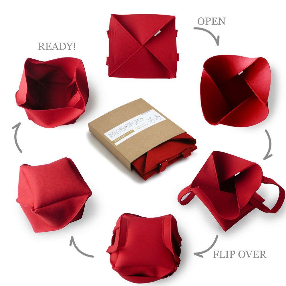 Red Folding Bag / Large Industrial Felt Bag / от aikafeltworks