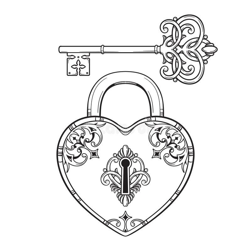 Key And Heart Shaped Padlock In Vintage Style Coloring Book Page For Kids And Adults Hand Drawn Line Art Prin Key Drawings Key Tattoo Designs How To Draw Hands