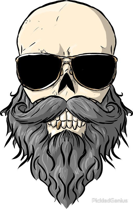 Bearded skull sticker by pickledgenius