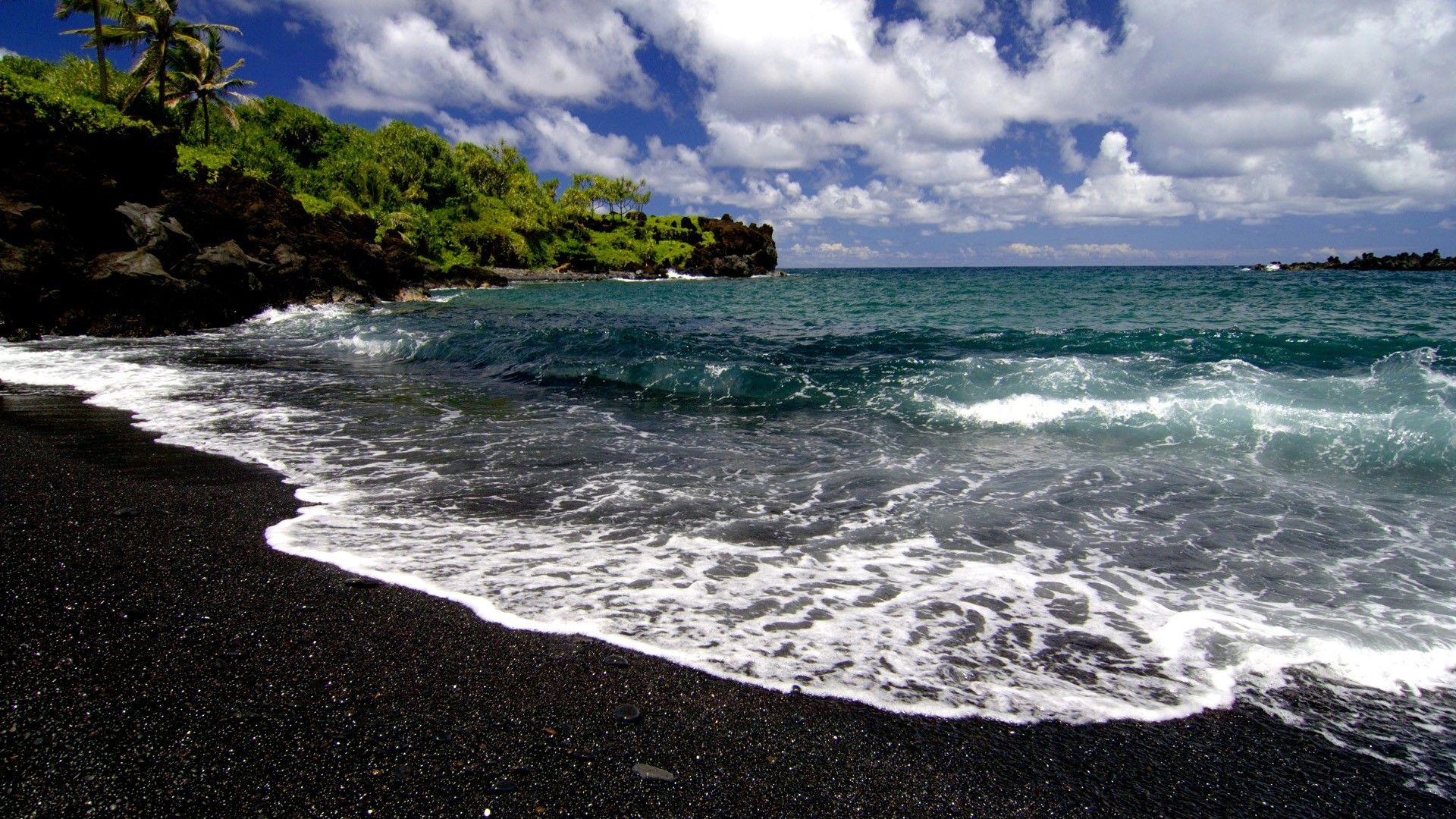 Beach Waves Hawaii Maui Black Sand 1920x1080 Wallpaper With