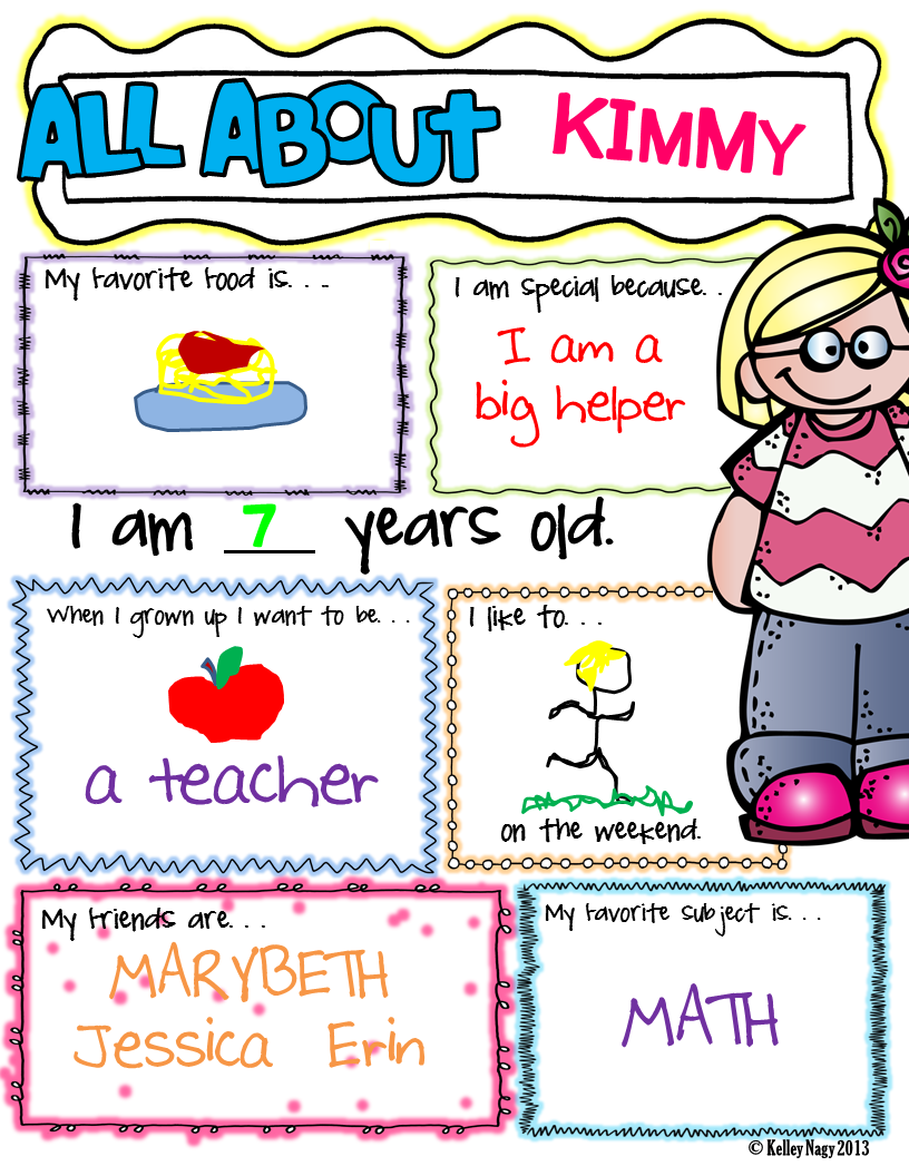 Poster design ideas for school projects - All About Me Posters There Are 2 Black Line Poster Designs But One Design