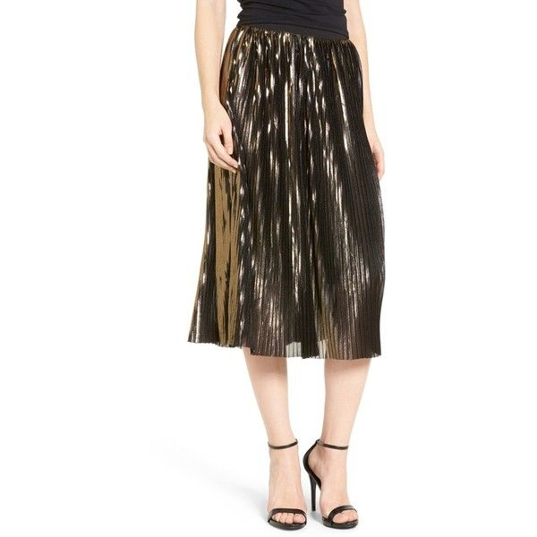 Women's Trouve Shine Pleat Midi Skirt ($79) ❤ liked on Polyvore featuring skirts, gold, brown midi skirt, pleated skirt, accordion pleated skirt, gold skirt and gold pleated skirt