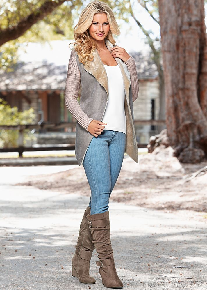 SHEARLING SWEATER COAT, SEAMLESS CAMI, COLOR SKINNY JEAN, WEDGE BUCKLE BOOT
