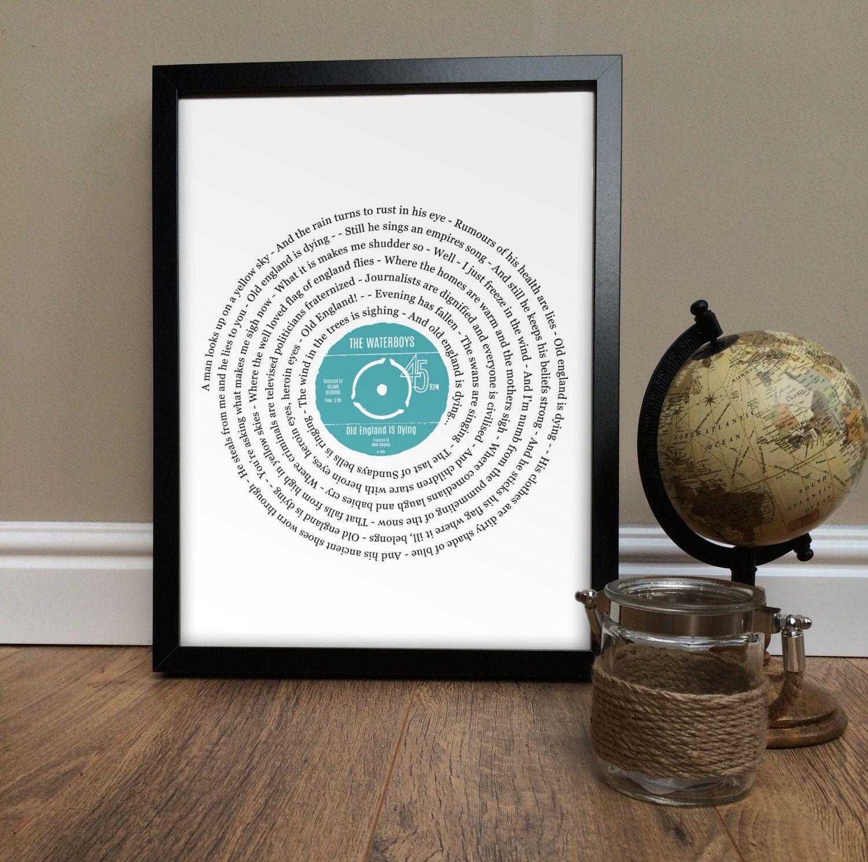 Personalised song lyrics framed print 12\' VINYL RECORD Any song ...