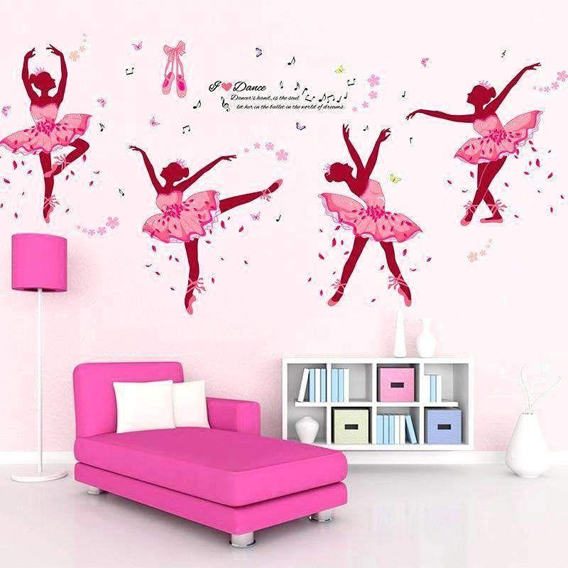 Beautiful Pink Ballerina Wall Sticker Girls Wall Decor Kids Room Wallpaper Wall Decor Bedroom Girls