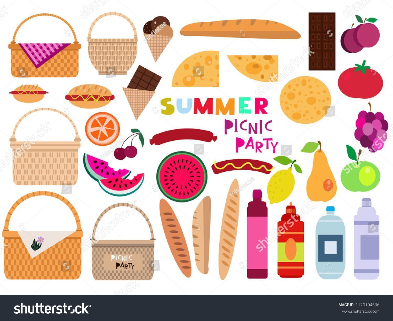 Summer Family Picnic Concept With Basket Food And Fruits Vector Illustration In Flat Cartoon Style Sponsor Family Picnic Cartoon Styles Family Picnic Foods