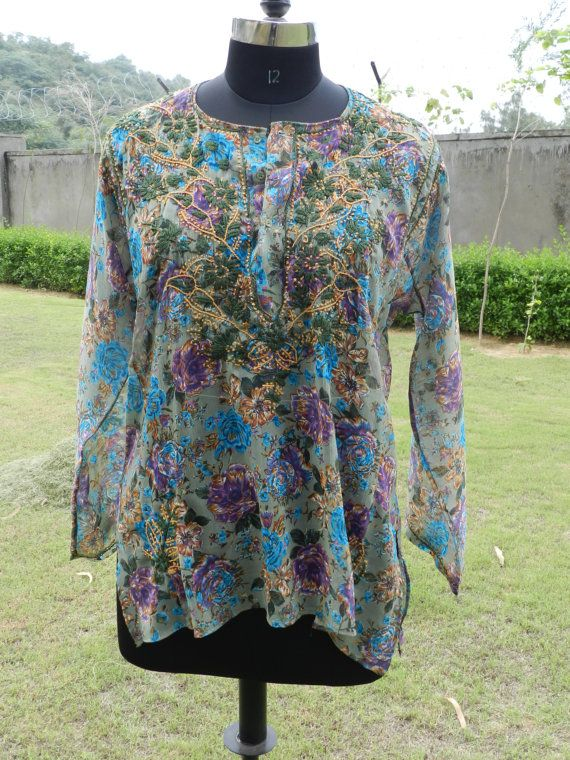 Green Color Women Ladies Printed Summer Chiffon by textileIndia